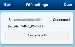 "Wifi configuration screenshot that says ""Connected"""